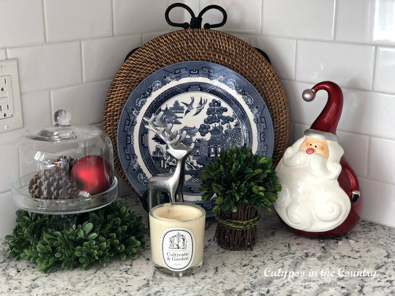 Christmas vignette with blue and white china