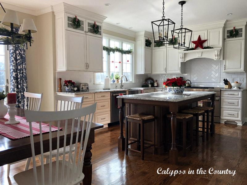 White Kitchen decorated for Christmas - Christmas Kitchen Ideas