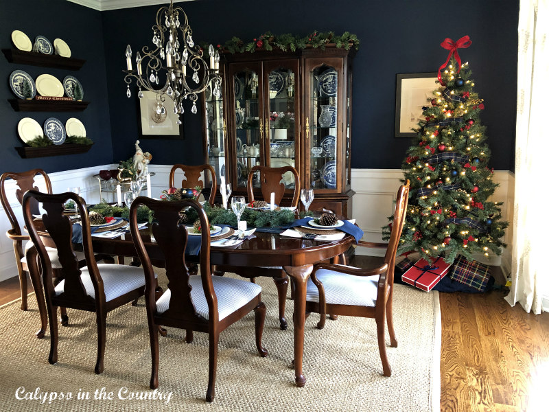 Navy Dining Room with Christmas Tree in corner
