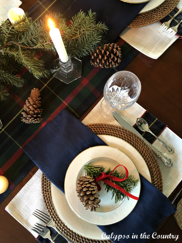 Plaid Christmas table runner and blue and white place setting