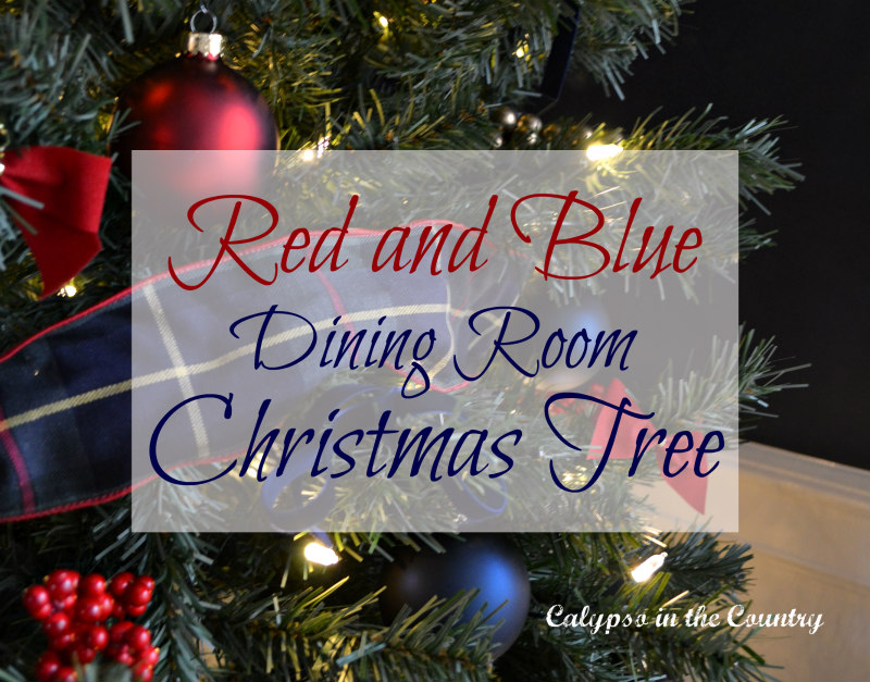 Red and Blue Christmas Tree in the Dining Room