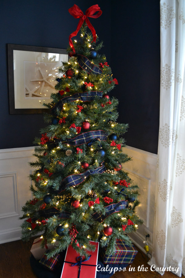 Red and Blue Christmas Tree in navy room