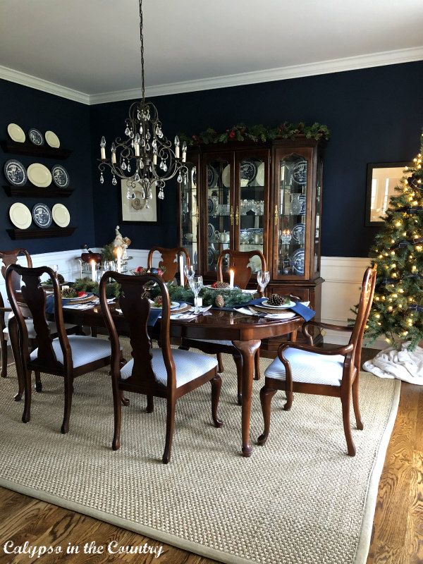 Navy Blue Dining Room decorated for Christmas