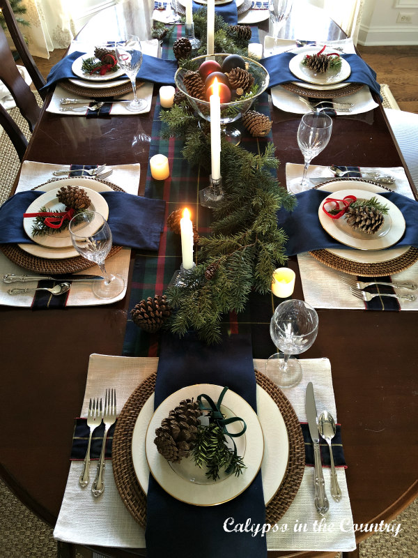 Traditional Christmas Table Decor on Cherry Dining Room table