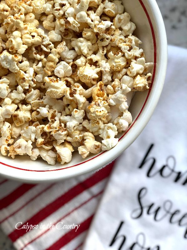 Bowl of Popcorn and Home Sweet Home towel - National Popcorn Day