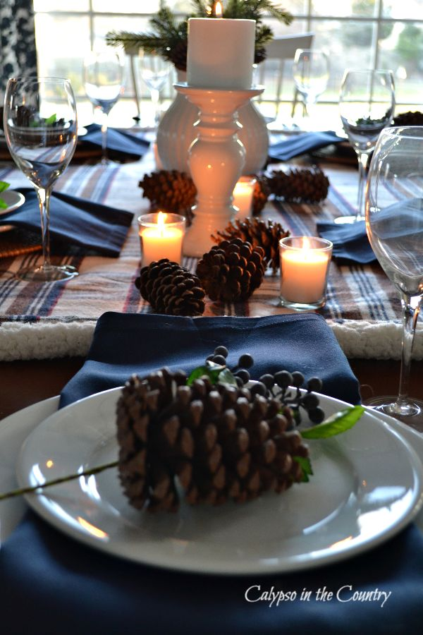 Pine cones and candles on winter table setting