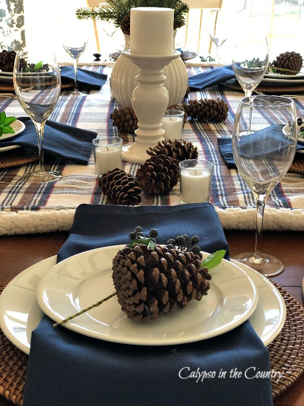 Navy and brown winter table setting