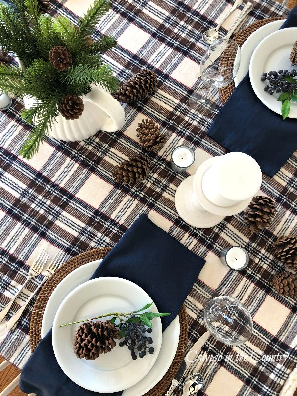 Navy and Brown table setting with plaid tablecloth - simple cozy winter tablescape