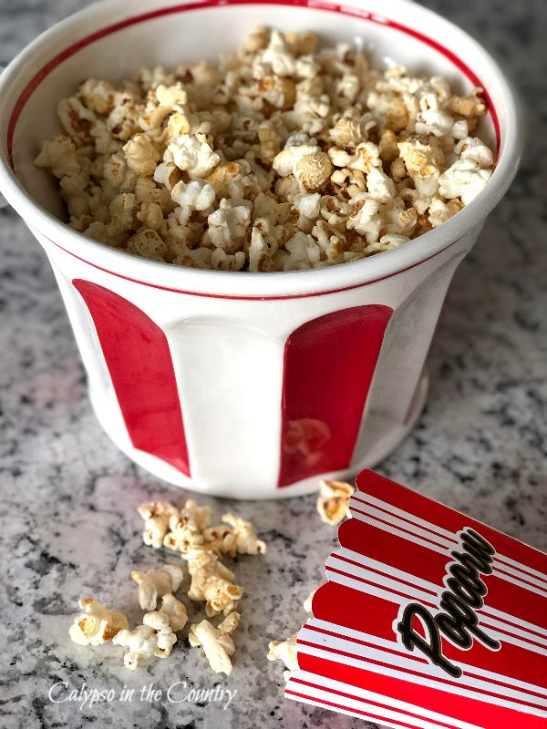 Red and White Bowl of Popcorn - National Popcorn Day