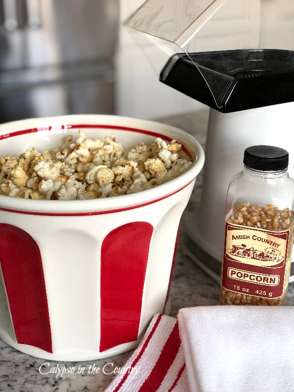 Red and White Popcorn Bowl