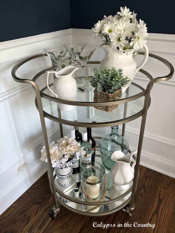 Gold spring bar cart with flowers