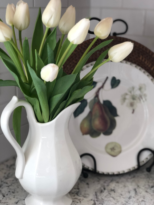 white tulips in white pitcher - Weekly Saturday Spotlight