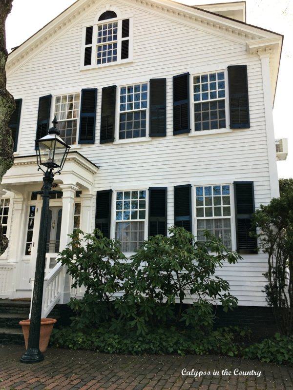 White house with black shutters - classic New England style
