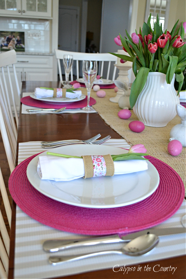 Pink and white place settings on Easter Table