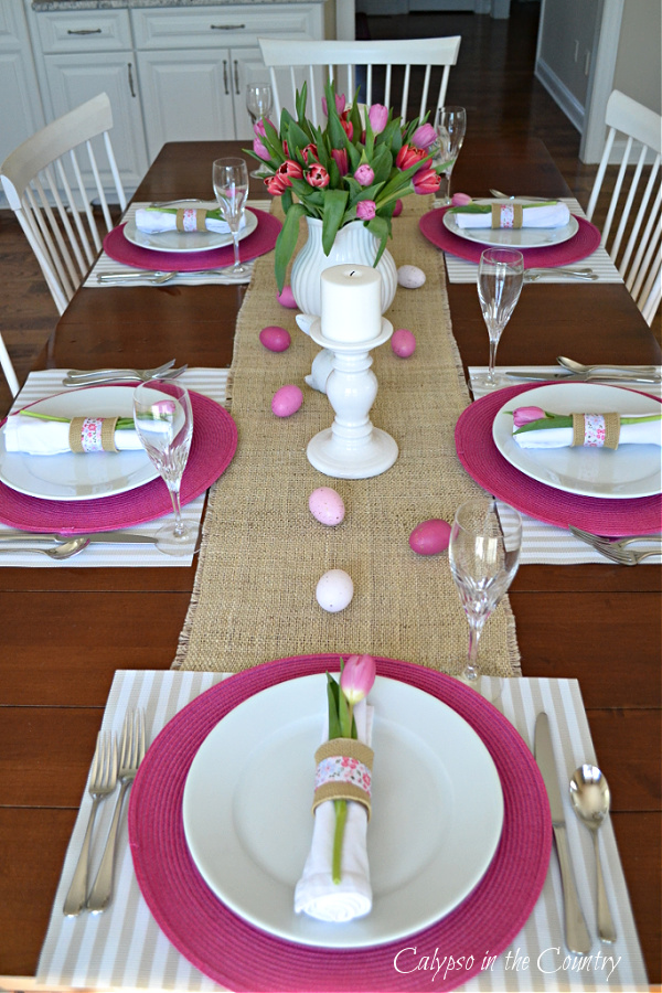 Pink and White place settings - set an Easter table