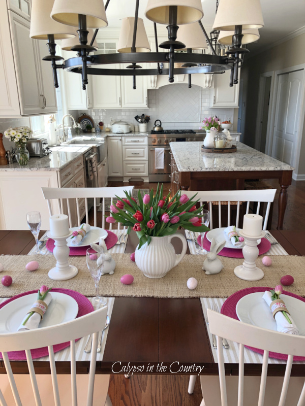 Set an Easter Table with pink and white