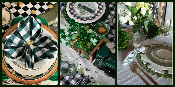 St. Patrick's Day table decor settings 1-3