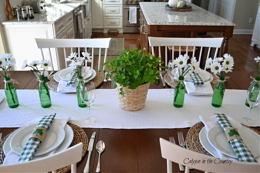 St. Patrick's Day table decor with green and white