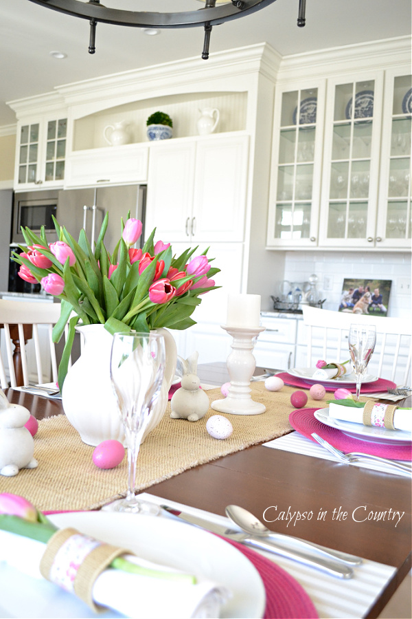 How to Set an Easter Table with Pretty Pink Flowers