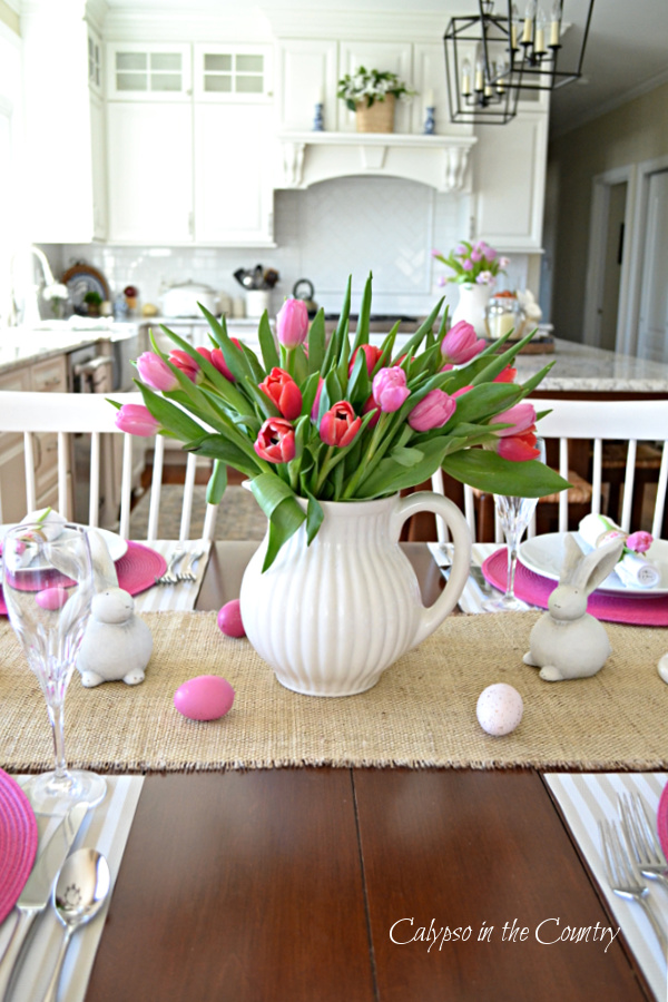 Pink Tulips in White Pitcher on Table - Spring has sprung!