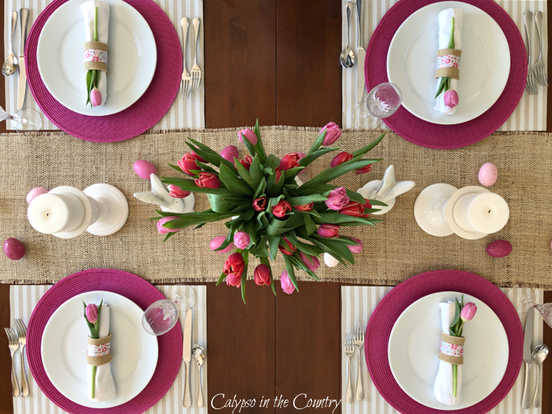 pink and white place settings - setting an Easter table