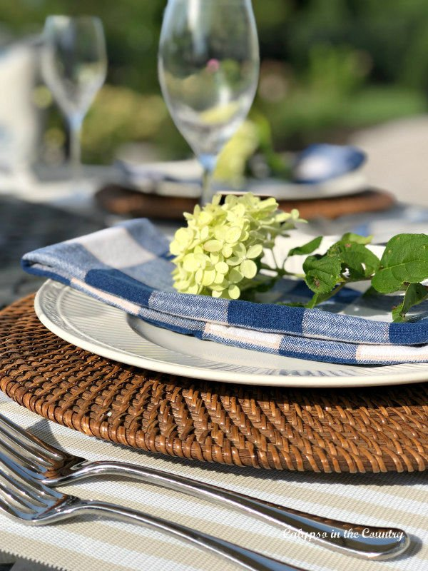 Table setting with blue and white checked napkin and hydrangea