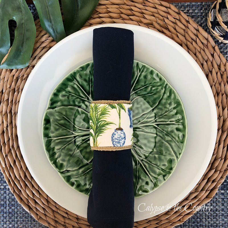 Navy and green tropical place setting