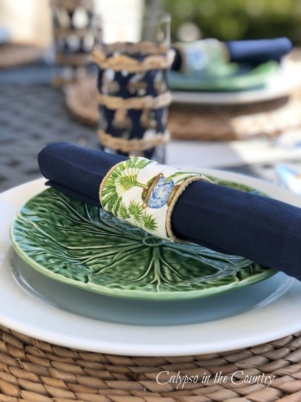 tropical garden napkin ring on green cabbage plate