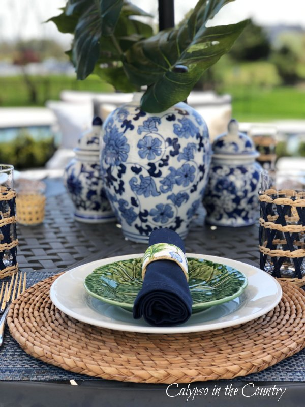 blue and white porcelain on outdoor table