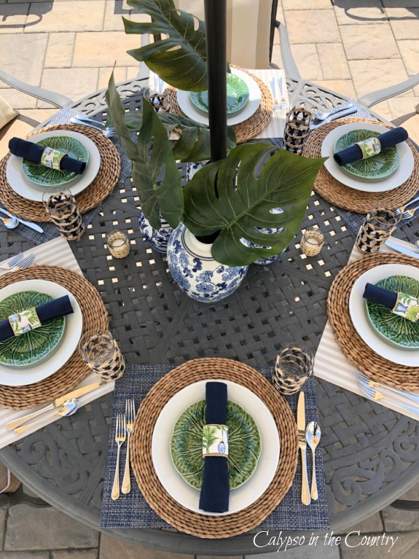Patio table decorated in tropical style