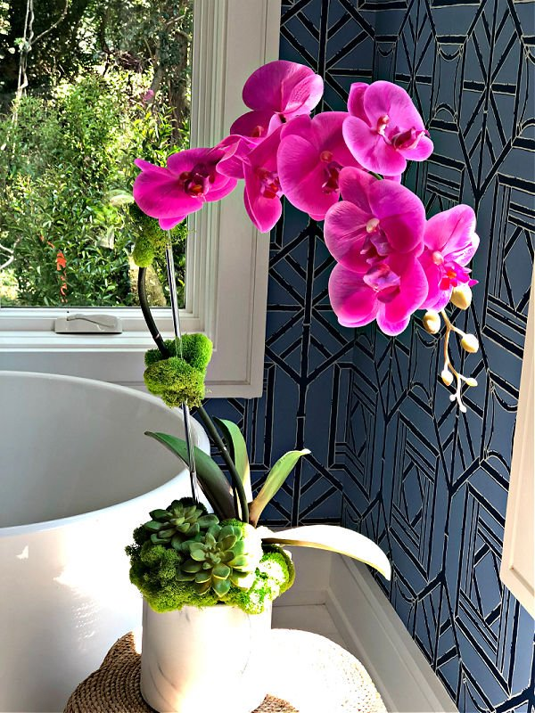 Pink orchid in blue and white bathroom