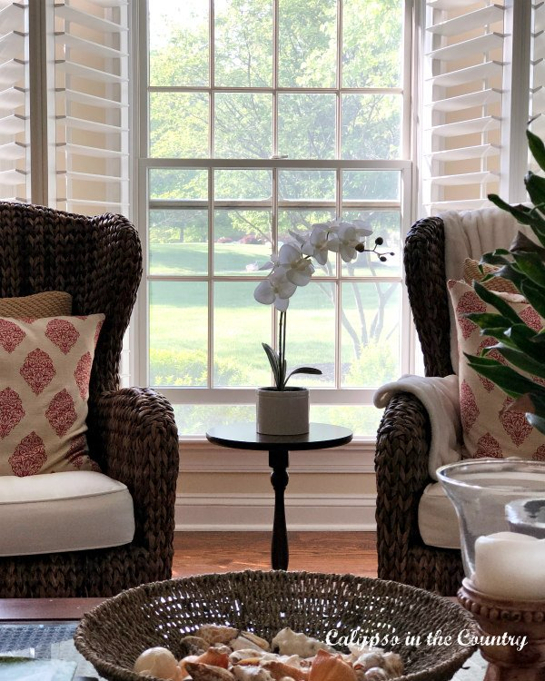 Plantation shutters, white orchid and seagrass chairs