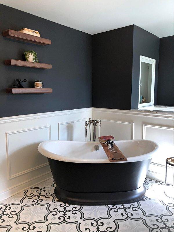 Black Bathroom with black freestanding tub - Designer House Tour