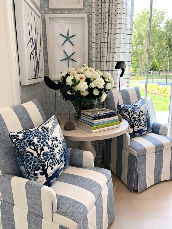 Blue and white striped chairs at Hampton Designer Showhouse - House Tour
