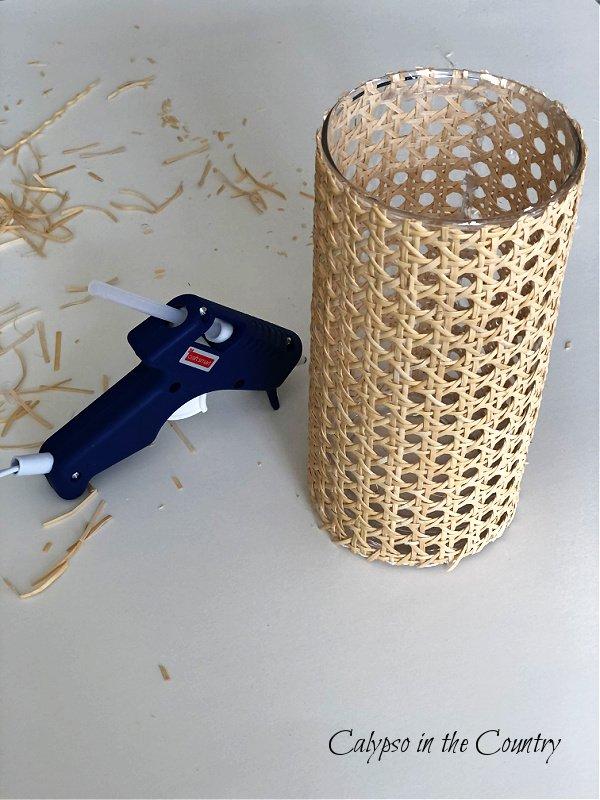 Glue gun and cane wrapped vase - DIY Cane vase