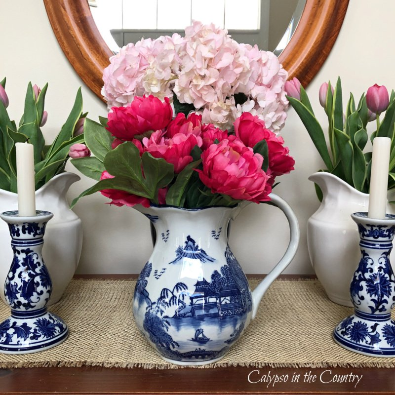 blue and white porcelain with pink flowers - how to decorate a foyer for spring
