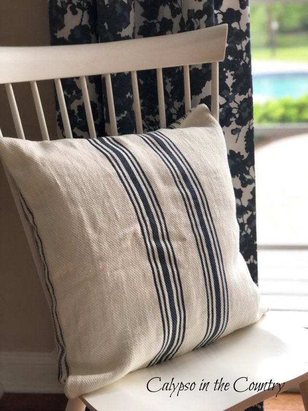navy and white striped grain sack pillow - decorating with stripes