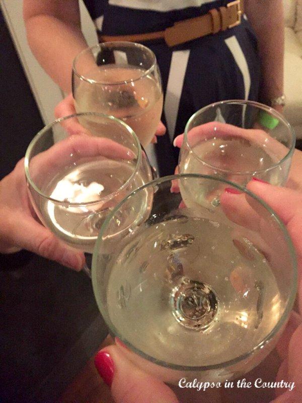 Glasses of white wine - refreshing summer beverages