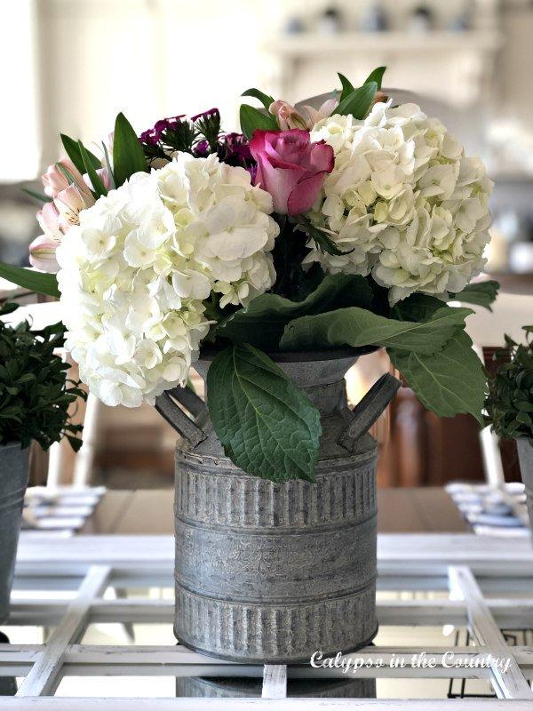 hydrangeas in galvanized milk can - summer flower gardens