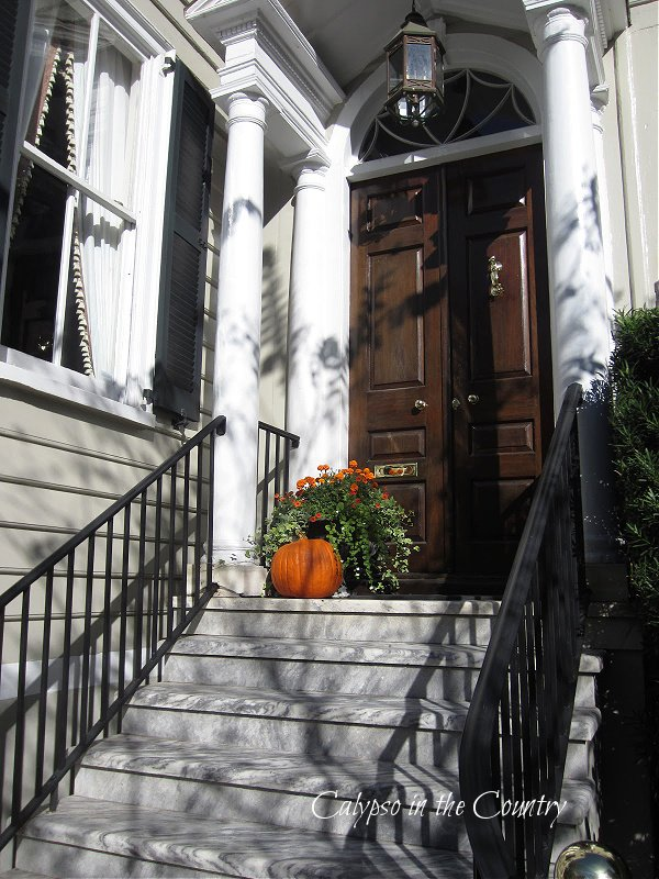 pumpkin on porch - get ready for fall