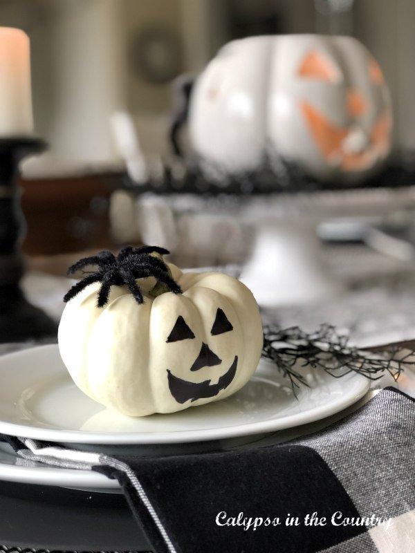 mini white jack o lantern on table setting - Hello October 2021