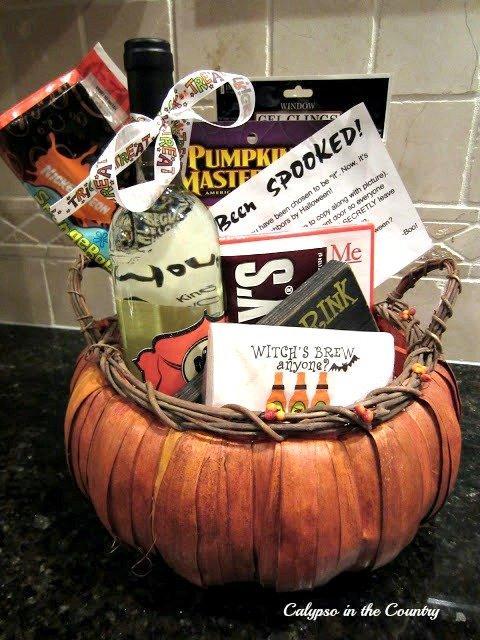 pumpkin basket filled with treats - Hello October 2021